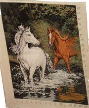 gobelin handmade Horses in the river