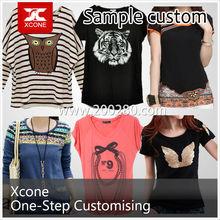 100% cotton embroidered women tshirt supplier