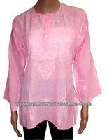 Chikan Kurtis Indian Designer Cotton Top Tunic Embroidered