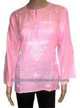 Ladies Cotton Lucknow Chikan Kurtis Top Tunic,Embroidery Kurtis
