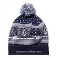Caliente de lujo de piel de conejo Pom Pom de acrílico de punto sombreros / sombreros de la gorrita tejida