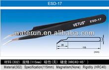 Vetus ESD-17 Curved Stainless Steel Tweezers (125mm)