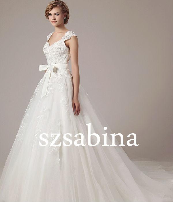 Wholesale Cheap New Satin Sexy V-Neck A-line Sweep Train Bridal Wedding Dress 5147