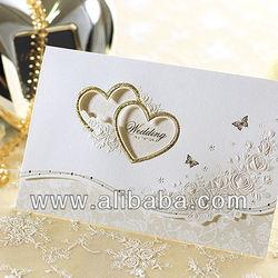 Gold Heart Wedding Invitations Card + Envelope + Seal / 9092