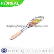 wooden handle one fish BBQ grill tool/BBQ GRILL WIRE MESH