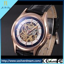 Caliente venta de moda de moda nuevo estilo skeleton reloj mecánico