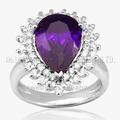 preço de fábrica e de alta moda de cristal roxo 925 jóias anel de prata
