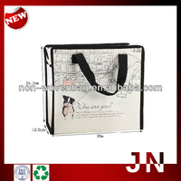 Promotional Printing Laminated Woven PP Bag With Zip, Zipper Shopping Tote Bag