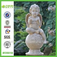 Decorative Angel Sitting Ball Garden Resin Baby Statue