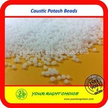 Market price Caustic potash beads /potassium hydroxide pearls (KOH) beads 90%
