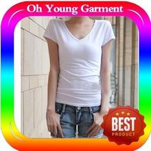 stretch t-shirts plain, women v-neck short sleeves tshirt, fashion t shirt