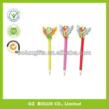 butterfly shape rubber plastic bouncing head ball pen, 3d logo printing soft pvc bouncing head ball pen
