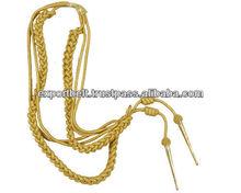 Military Aiguillette Gold Wire Double Tip | gold aiguillettes lanyard for uniforms shoulders