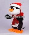 سوينغ الالكترونية الجسم مع وظيفة مشغل mp3 البطريق عيد الميلاد الحيوانات المحنطة لعبة أفخم