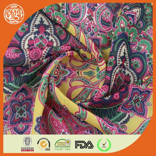 Fashion floral style digital printed 75D indian chiffon silk fabrics