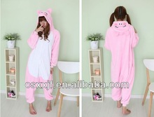 Christmas wholesale soft coral fleece buy onesies/latest style cartoon pink pig costume for adult
