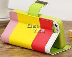 Hit color flip wallet pu leather case for iphone 5c leather case