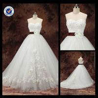 New Customized Wholesale 2014 Elegant Sexy Sheath Sweetheart A-Line With Brown Sash Sweep Train Bridal Wedding Dress WA00090