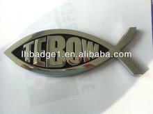 ABS fish chromed car badges emblems,custom plastic car auto logo label sticker