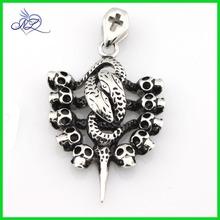 Stainless steel snake and skull pendant