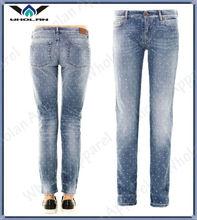 Ladies custom mid rise boy fit star print jeans