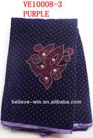 Best selling alibaba purple velvet lace material for dresses(VE10008-3)