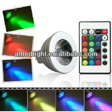 16 Colors changing RGB LED Lamp 3W MR16 AC/DC 12V white light bulb RGB LED Bulb Lamp Spot with Remote Control