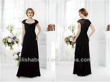 Kraliçe Anne yaka kap kollu dantelli korse sırf geri siyah şifon anne damadın elbise