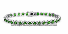 Turquoise jewelry Chrome Diopside Bracelet in Sterling Silver (4mm)