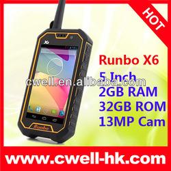 Runbo X6 Walkie Talkie Waterproof Android Smart Mobile phone 5 Inch Screen 2GB RAM 32GB ROM MTK6589T Quad Core