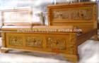 Solid Teak Wood Antique Hand Carved Wood Bed Frame Jepara Indonesia Furniture