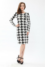 Ladies office black and white stripe long sleeve dress YN0101