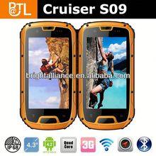 Cruiser S09 MTK6589 IP68 walkie-talkie PTT NFC watch phone 2013 waterproof