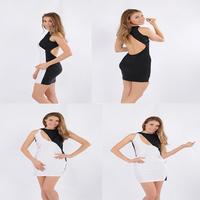 Stylish White and Black Bodycon Dress Plus Size