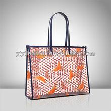 V593 - Fashion transparent PVC lady shopper tote bag with bird printing