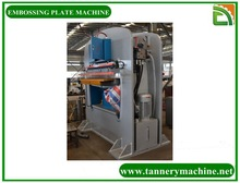 Embossing machine for cow burnished finished leather