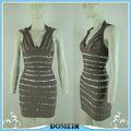Nueva tendencia vestido sin espalda, la señora brown beades venta al por mayor vestido de fiesta y de con cuerpo vestido sexy vestido celebridad hl175