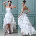 simples real feito em camadas strapless tafetá de frente de curto e longo nas costas do vestido de casamento