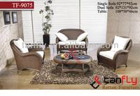 2015 new hand woven classic and elegant rattan living room sofa set table and sofa chair