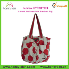 Stylish Canvas Two Pocketed Cheap Ladies Polka Dot Tote Bag For Promotion