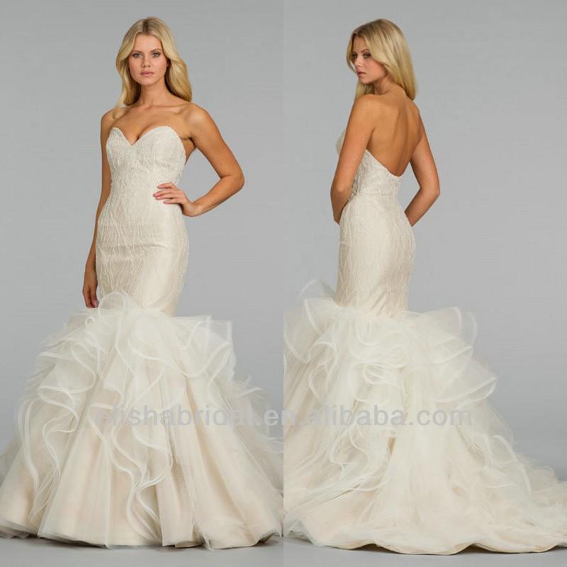 querida decote frisados e bordados corpete slongated em camadas mais recente nupcial vestidos de casamento fotos