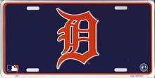"""Detroit Tigers """"D"""" Blue License Plate"""
