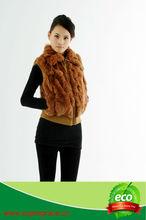 Fur Factory Rabbit Fur Waistcoat with Rabbbit Fur Collar In Khaki