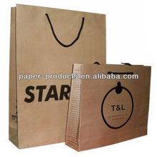 OEM logo brown craft paper shopping bag