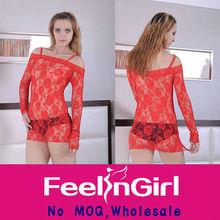 Wholesale Charming Sleeved Sleep Wear Sexy Short Mini Night Dress
