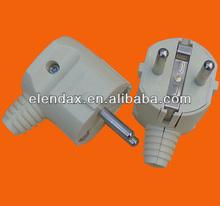 European style angle shape 2 pin power plug with grounding (P7056)