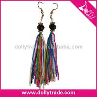 Black Beads Charm Long Chain Tassel Earrings Hanging Earrings Ear Lift