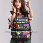 Large zipper Cool Girls Vintage Backpack school with ipad pocket BBP125