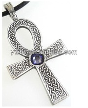 Hotselling Fashion Elegant Purple Crystal And Antisilver Cross Alloy Necklace Jewelry A110423