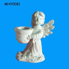 Bisque unpainted popular angel white Ceramic Candle Holder
